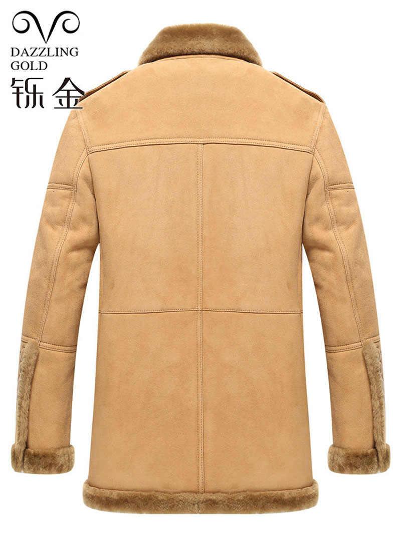 100% настоящая Австралийская овчина мужская куртка из натуральной кожи для мужчин овчина шуба Толстая Высококачественная зимняя куртка