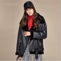 Marka Yeni Sonbahar Kış Yüksek Moda Sokak kadın PU Deri Polar Ceket Kadın Artı Kadife Rahat Sıcak Fermuar Coats dış giyim