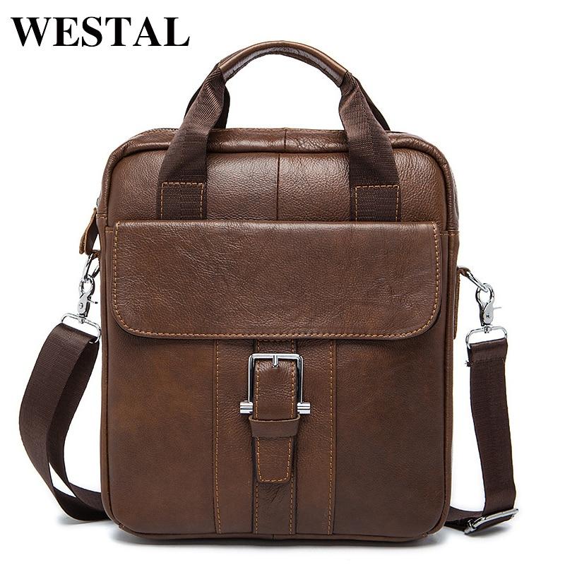 8cd2e8c3dad55 WESTAL Erkek Çanta Hakiki Deri Crossbody Çanta omuz çantası erkekler 'ın  omuzdan askili çanta Erkekler deri çantalar Adam Flap 8809