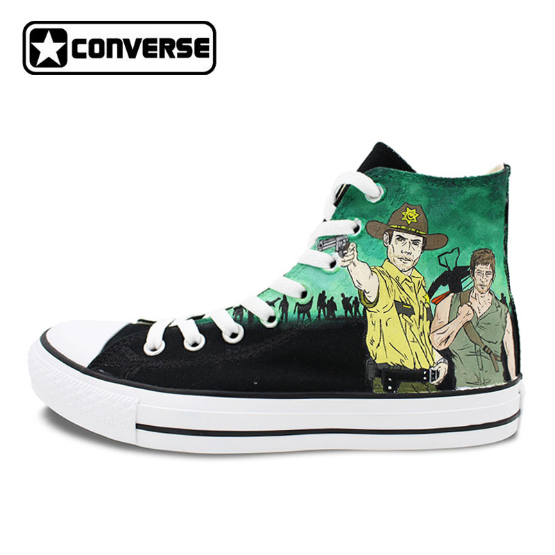Converse All Star Women Men Shoes Walking Dead Design Hand Painted Shoes Woman  Man Sneakers Skateboarding Shoes Christmas Gifts sneakers men women converse all star anime fairy tail galaxy design custom hand painted shoes man woman christmas gifts