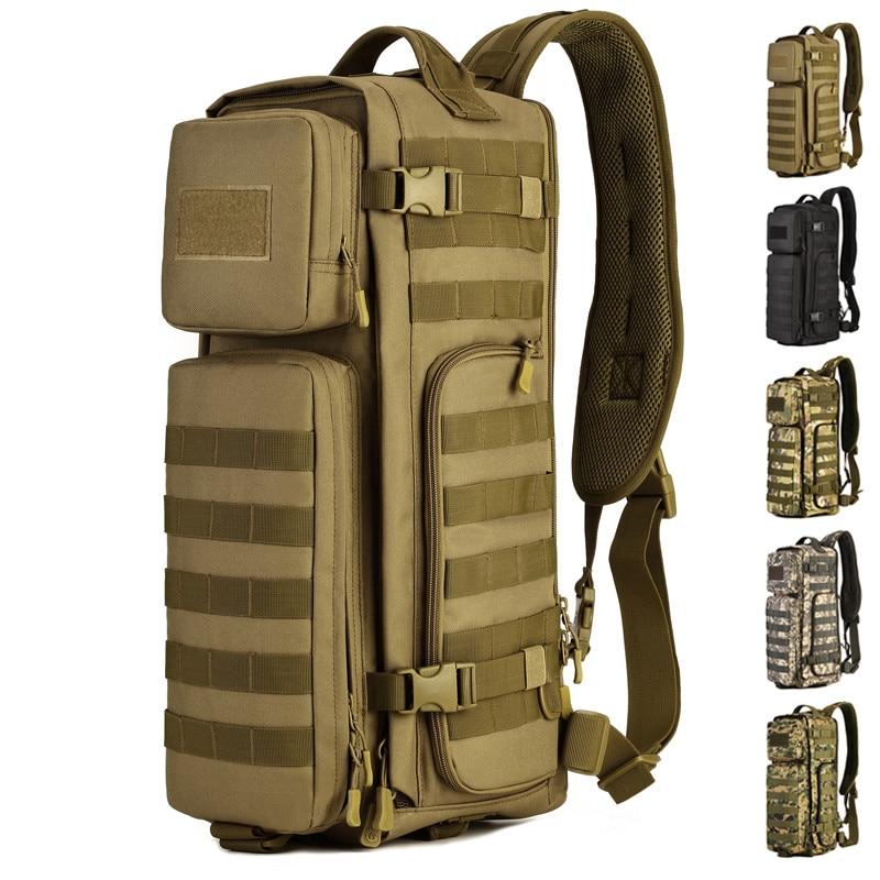 Hommes tactique Combat unique épaule sacs de Messager en plein air grande capacité voyage Molle poitrine fronde dos packs sac à dos corps croisé