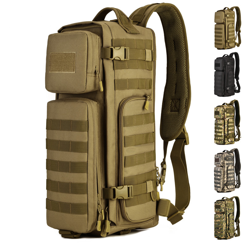Men Tactical Combat Single Shoulder Messager Bags Outdoor Large Capacity Travel Molle Chest Sling Back packs Cross Body Rucksack field tactical chest sling pack outdoor sport a4 one single shoulder man big large ride travel backpack bag advanced tactical
