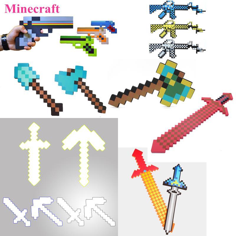 ᐂNuevo Minecraft Juguetes espuma espada Pick Hachas Gun Minecraft ...