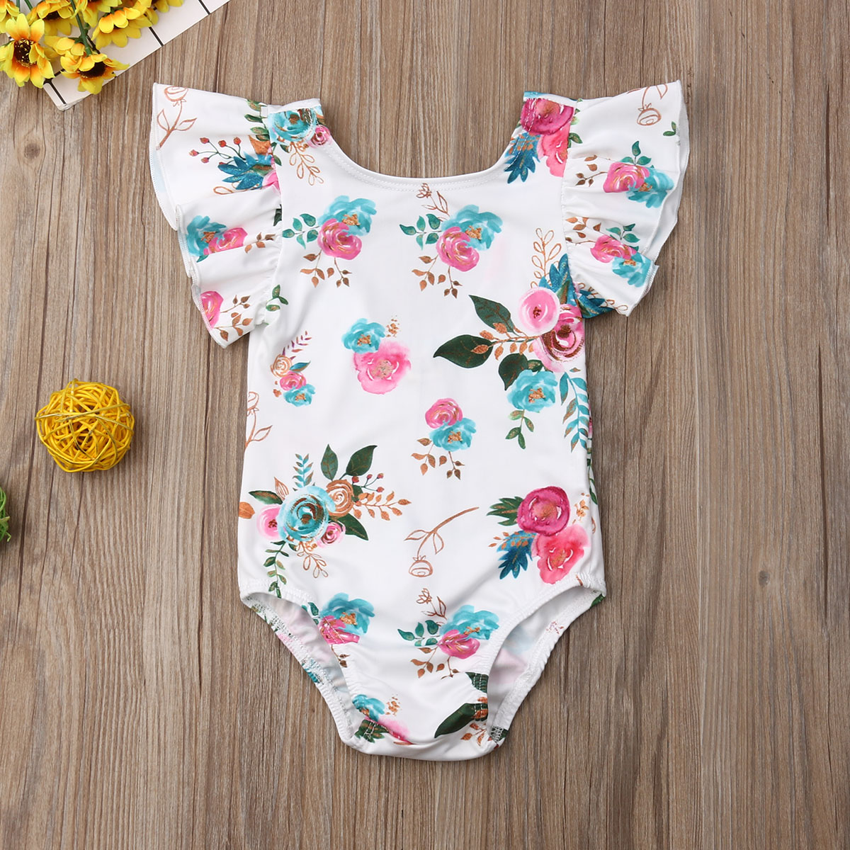 Pudcoco Newborn Baby Girl Clothes Fly Sleeve Ruffle Flower Print Romper Jumpsuit One-Piece Outfit Playsuit
