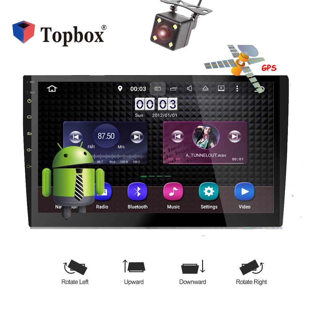 "Topbox 2 din Car Radio Android 10"" Touch Screen Mirror Link Universal Audio Stereo DVD Player GPS Navigation Support 3G Wifi"