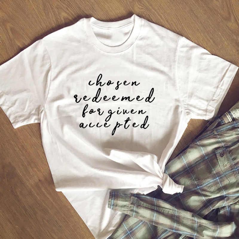 """Выбранная отобранная, с преданным уважением, хлопковая футболка, женская, христианская, графическая футболка, футболка """"Вера"""", Harajuku tumblr, хипстерская, женская"""
