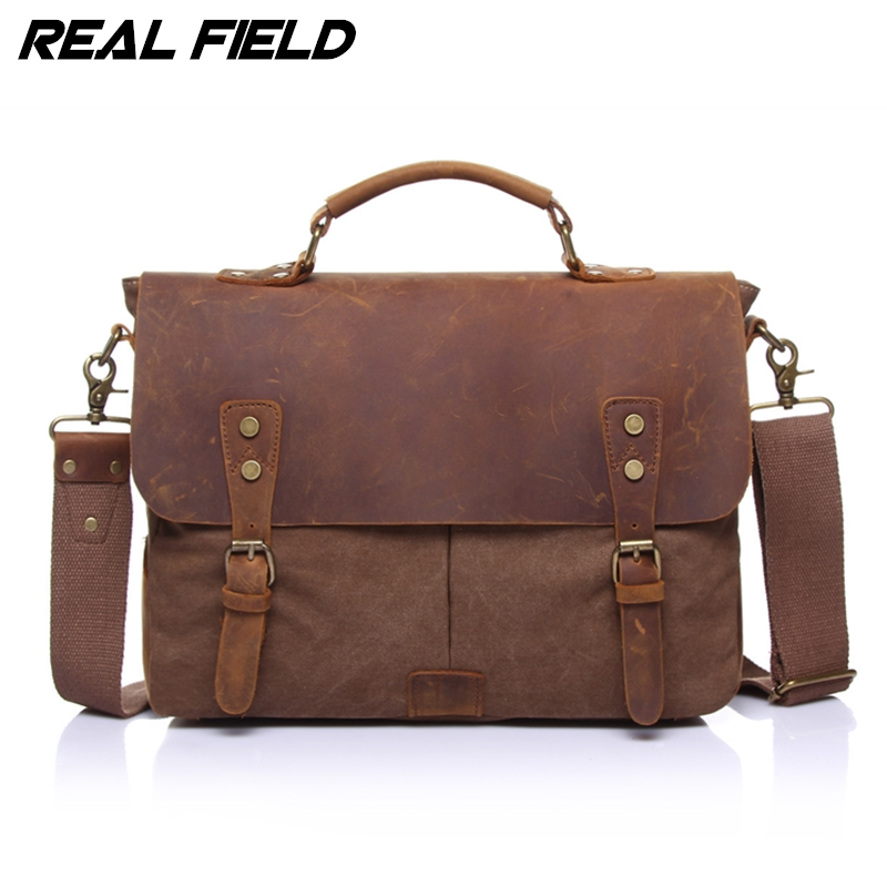 Real Field Men Business Shoulder Bags Canvas Satchel Briefcase Vintage Computer Document Crossbody Casual Tote Handbags 125 casual canvas women men satchel shoulder bags high quality crossbody messenger bags men military travel bag business leisure bag