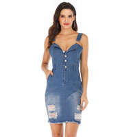 Yvlvol Summer hole denim Women bodysuit Rompers sexy spring Jumpsuit Playsuit body lady clothes 2019 overall combinaison femme