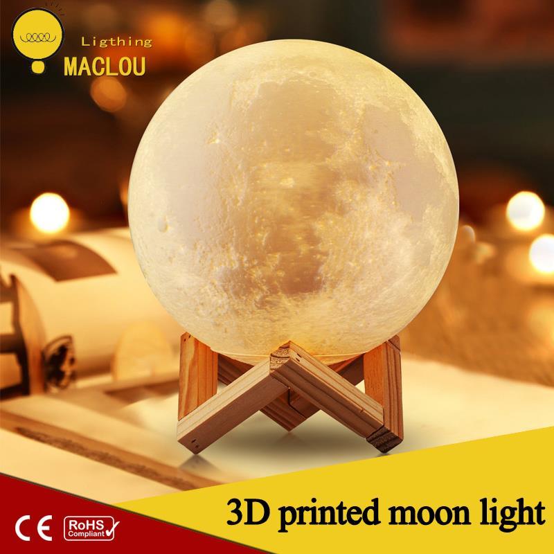 Wiederaufladbare 3D Lichter Print Mond Lampe 2 Farbe Ändern Touch Schalter Mond Licht Schlafzimmer Led Nacht Licht Wohnkultur Kreative geschenk
