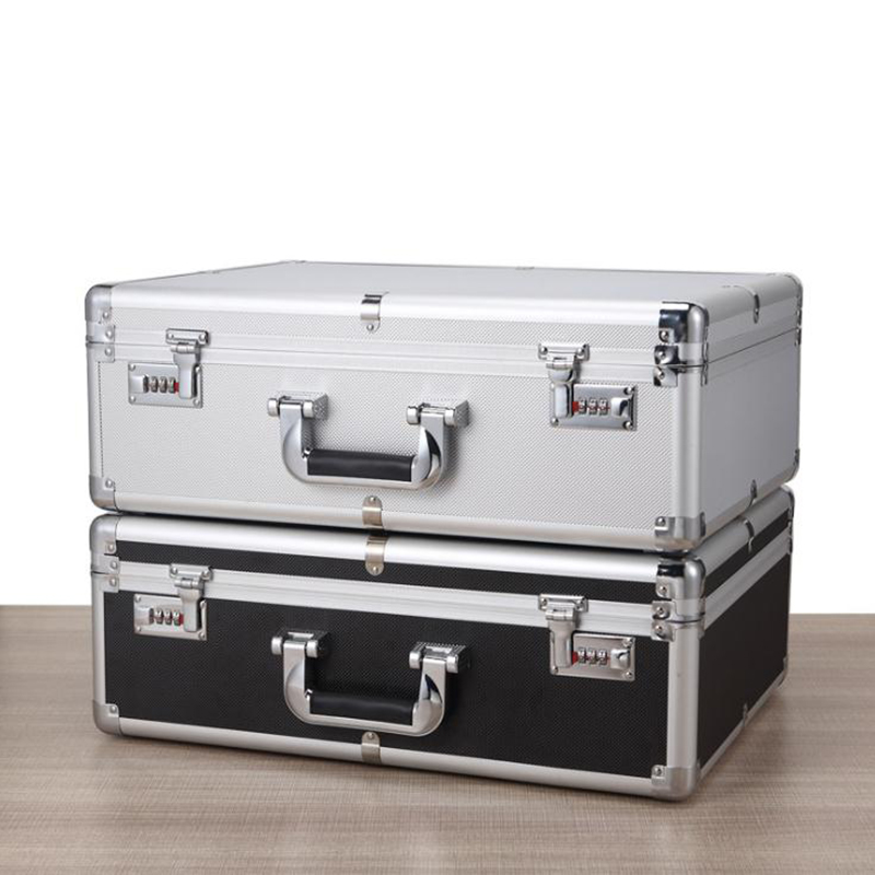 500*370*180mm Portable Aluminum Alloy Toolbox Document Insurance Household Storage Box With Passwords Suitcase File Boxes
