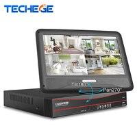 Techege все в одном безопасности сети видео Регистраторы 8CH CCTV PoE 48 В NVR 1080 P с 10,1 ''ЖК дисплей экран обнаружения движения Onvif RTSP