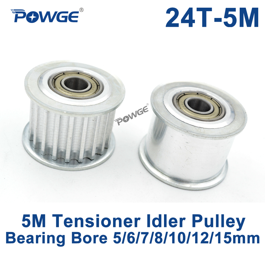 POWGE 24 Teeth 5M Idler Pulley Tensioner Wheel Bore 5/6/7/8/10/12/15mm with Bearing Guide HTD5M synchronous pulley 25T 25teeth lupulley 25t 5m idler pulley tensioner bore 5 6 7 8 10 12 15mm with bearing guide regulating synchronous htd5m pulley 25t