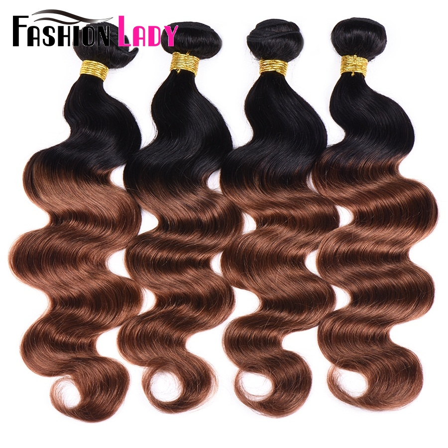 Fashion Lady Pre-Colored Brazilian Body Wave Bundles 1B 30 Two Tone Hair Extension Human Weave Ombre 4 Bundles Non-Remy