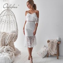 Lace Des Promotion Length White Achetez Knee Dress QhsdCrxt