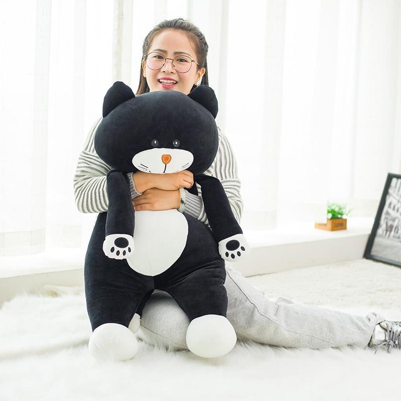 60/75cm Cute black cat plush Toys 2017 New Style Stuffed comfy Soft plush gray cat cloth doll animals toys Drop shipping