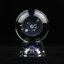 3D Laser Engraved Solar System Crystal Ball Planets Decorative Glass  Crafts Globe Nordic Home Decoration Accessories