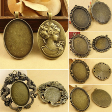 4pcs/lote 30*40mm Inner Size Zinc Alloy Pendant Blank Setting Tray for Glass Cameo Cabocho