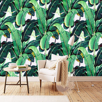 Custom Wall Mural Wallpaper European Style Retro Hand Painted Rain Forest Plant Banana Leaf Pastoral Wall