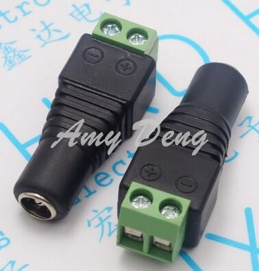 100pcs/lot  Free Welding 2.5 Bus 12VDC Female Head Power Adapter Head DC