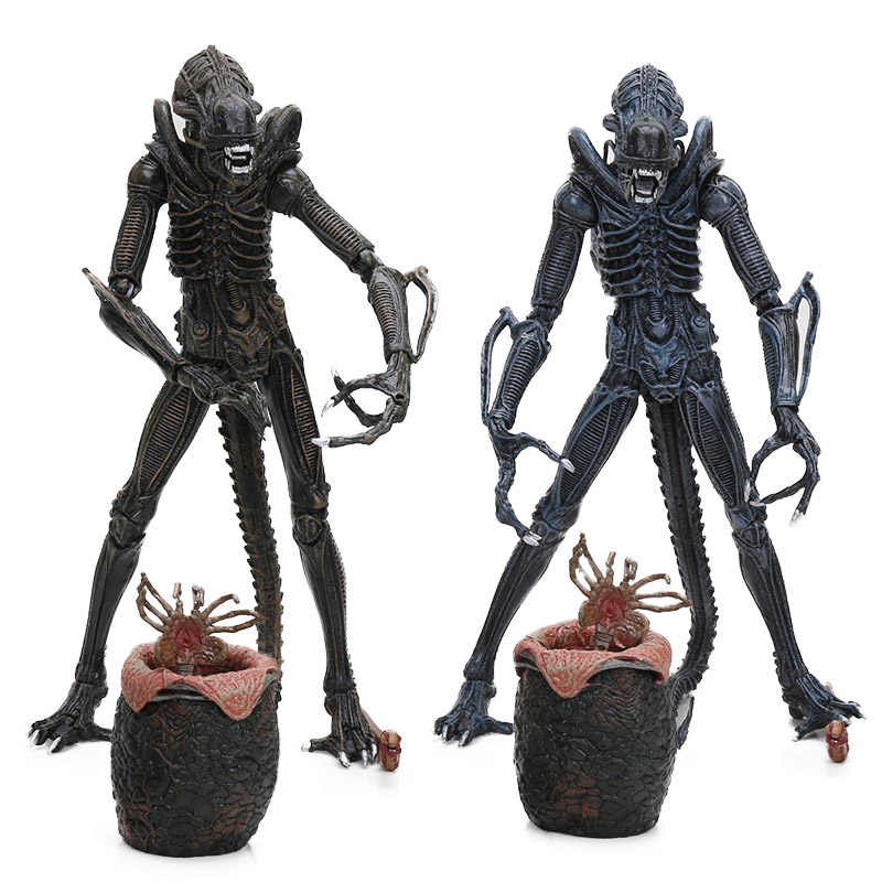 5-21 Cm Neca Mainan Alien 1986 Alien PVC Action Figure Prajurit Utama dengan Telur Facehuggers Chestburster Collectible Model boneka