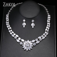 ZAKOL High Quality Cubic Zirconia Necklace Earrings Jewelry Set Classic Flower Zircon Ladies Engagement Party Jewelry FSSP333