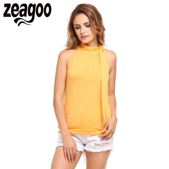 3f0d4902dd Zeagoo 2018 Summer O-Neck Women Sexy Tops Casual Lace Up Collar Off  Shoulder Solid Tank Top Female Vest Plus Size Yellow Black