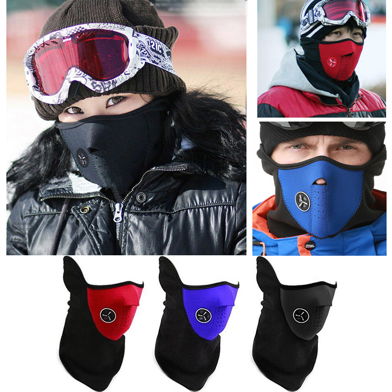 Winter Warm Fleece Mask Motorcycle Bike Ski Cycling Half Face Mask Cover Outdoor Sports Balaclavas Windproof Neck Scarf Headwear unisex winter warm fleece full face mask head cover neck warmer scarf hat ski cycling motorcycle balaclava caps outdoor sports