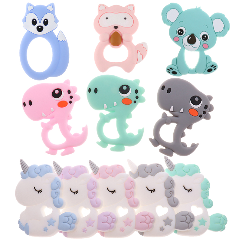 Bpa Free 10pc Cute Dinosaur Silicone Baby Teether Pendant Teething Necklace Koala Dragon Food Grade Nursing Gift Unicorn Raccoon