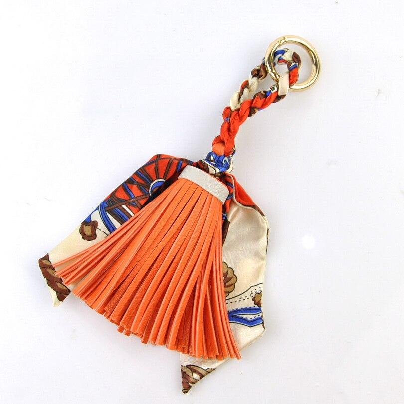 Women Handbag Accessory Tassel Fringe Silk Scarf Bag Decoration Faux Leather Item Small Leather Goods Fashion Lady Elegant Gift