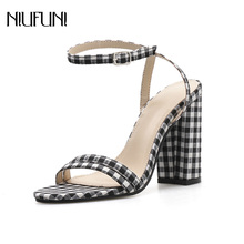 Fashion Womens Sandals Genuine Leather NIUFUNI 2019 Summer New Plaid Fabric High Thick Heels Casual Ladies Shoes