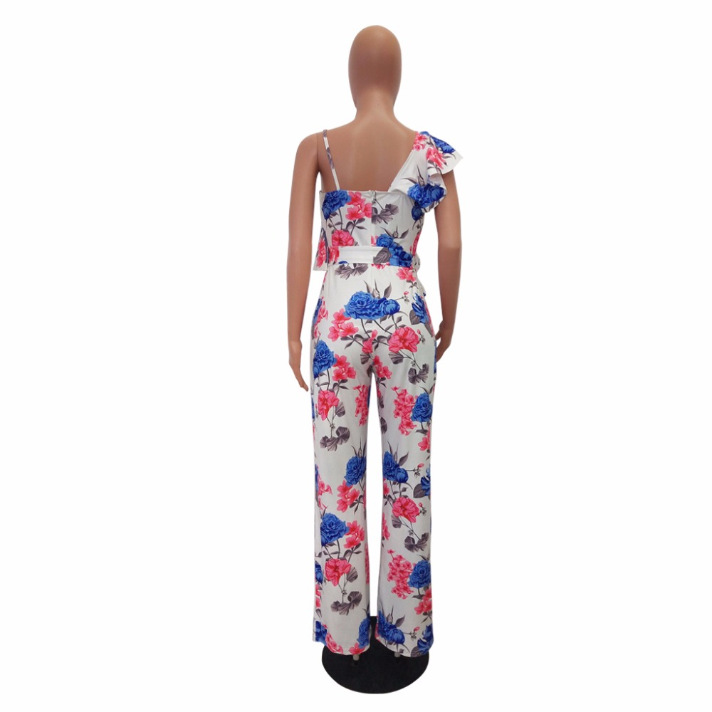 2018 New Women Floral Printed Boho Beach Jumpsuits Sexy Strap One Shoulder Wide Leg Rompers Ruffle Sleeve Belted Summer Jumpsuit