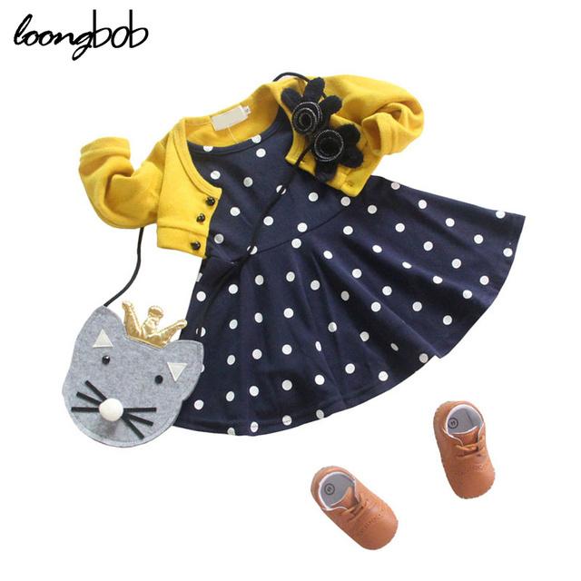 Newborn baby girl dress ropa de algodón de primavera otoño polka dot trajes sweet tops infantiles patchwork suéter kids dress for girls