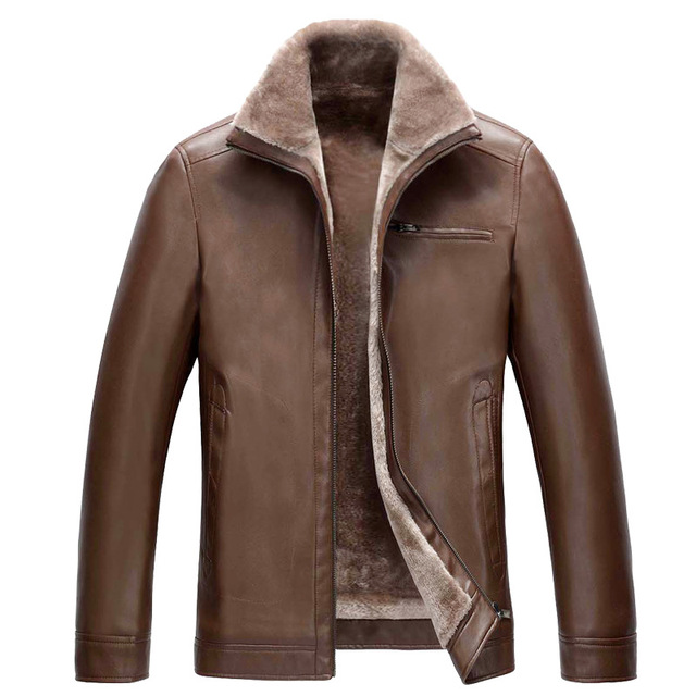 Winter New Casual Coat Men Jacket Leather Thick Warm Cashmere Lining Men's Winter Leather Jacket