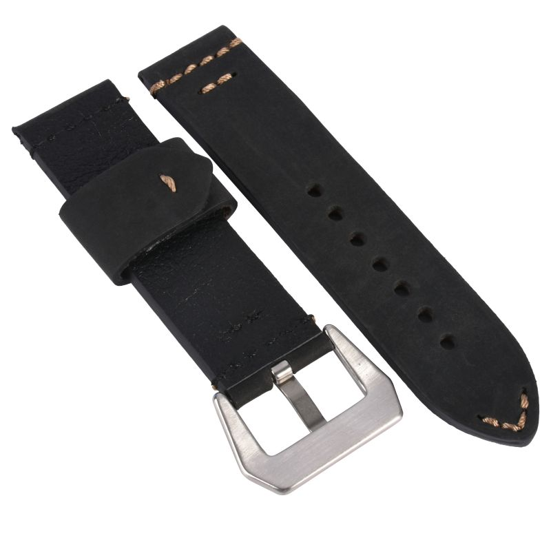 Hand Made Genuine Leather Watch Band Strap Watch 20mm 22mm 24mm With Black Buckles Black