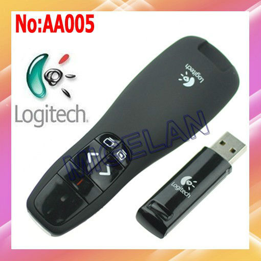 Wholesale / Retail Logitech R400 2.4G RF Mini Wireless Laser Pointer Presenter with LED Red laser + Free shipping #AA005