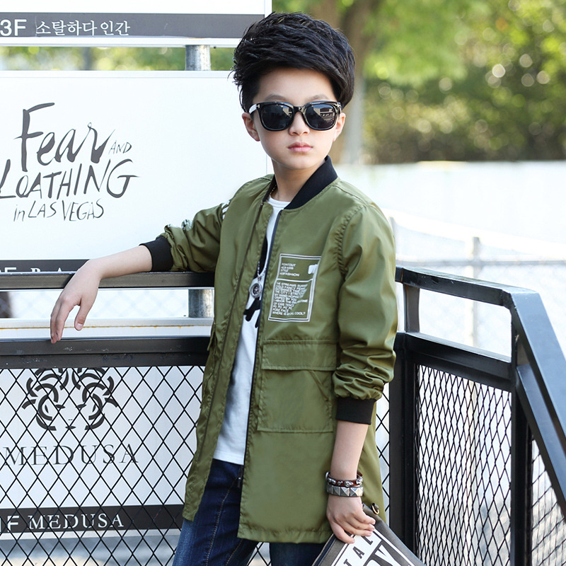 coat coat jacket 2018 spring new big boy in the Korean version of the long section of the boys windbreaker spring coat 2018 spring new style korean version of the white suit of the boy children s small suit flower girl dress boy presided over