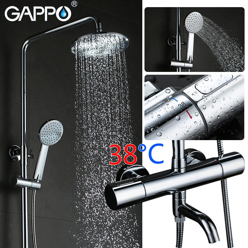 GAPPO bathroom thermostat faucet bathtub shower faucet mixer tap waterfall wall mount thermostatic mixer shower faucets taps dual handle thermostatic faucet mixer tap copper shower faucet thermostatic mixing valve bathroom wall mounted shower faucets