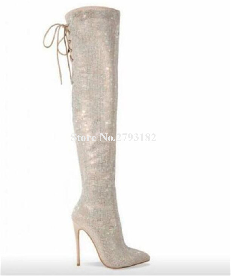 Detail Feedback Questions about Bling Bling Women Charming Rhinestone  Pointed Toe Spike Thin Heel Over Knee Boots Luxury Crystal High Heel Long  Boots on ... da882e6f0cfb