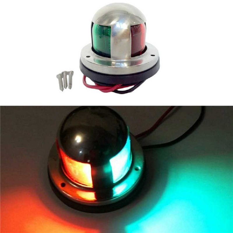 Ansblue 12V Stainless Steel Marine Boat Yacht LED Navigation Light Red And Green Bow Lights Deck Mount