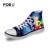 FORUDESIGNS Casuais Mulheres Sapatos Universidade Monstro Dos Desenhos Animados 3D Impressão Mulher Sapatas de Lona de Alta Top Flats plataforma chaussure femme