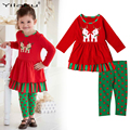 Cute Christmas Deer Girls Clothes Outfits Long Sleeve Kids Pajamas Set for Girl Clothing Sets Winter Childern Clothing CF484