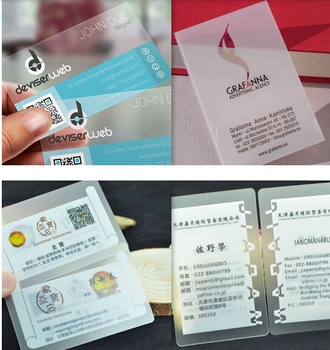 Customized Business Card Printing 500pcs  Plastic Transparent PVC Business Cards One Faced Printing custom Clear Frosted Surface