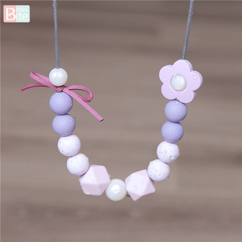 bite bites marble silicone teething beads bpa free silicone nursing necklace for mom necklace baby silicone teether baby teether Bite Bites 1pc Baby Teething Necklace Food Grade Silicone Beads Long Chain Children's Goods Perle Silicone BPA Free Baby Teether