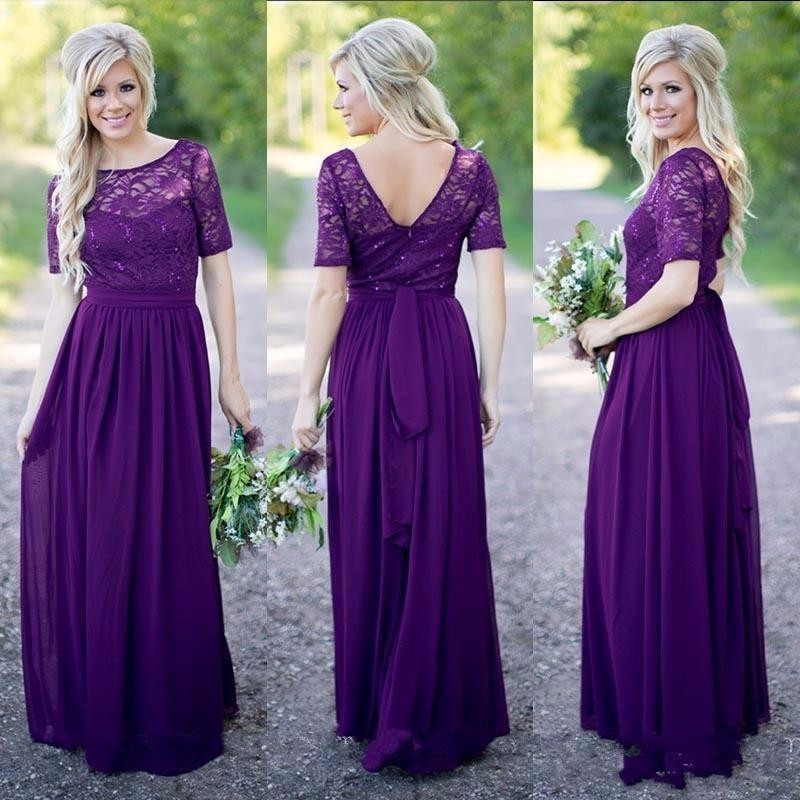 d1cce34a4d69 Long Formal Purple Lace Chiffon Modest Bridesmaid Dresses 2019 With Short  Sleeves Sparkling Rustic Brides Maid Dresses Wedding