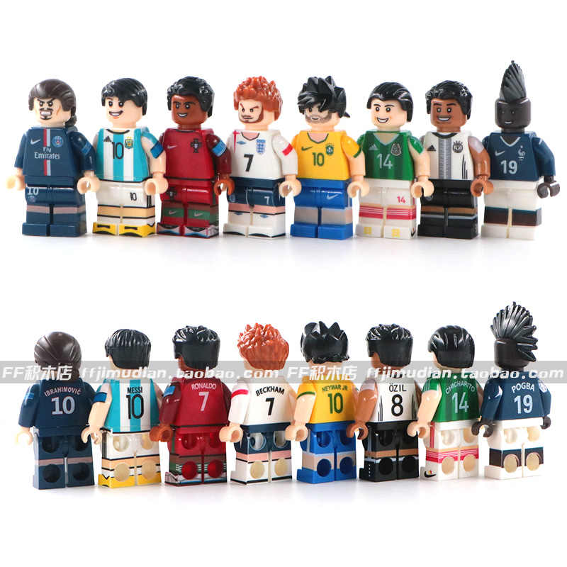 Neymar JR Messi Ronaldo Pogba Zlatan Ibrahimovic Modric De Bruyne Ozil Chicharito Football Soccer Mini Man Compatible With Lego