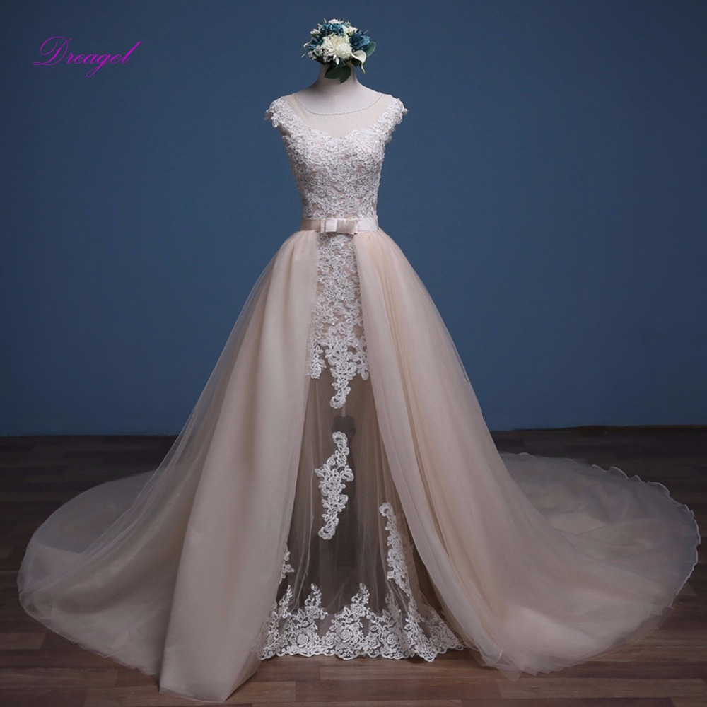 Wedding Gown With Removable Train: Dreagel Beaded Scoop Neck Appliquses Cap Sleeve Mermaid