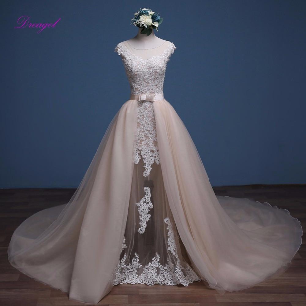 2013 Wedding Gowns Detachable Train: Dreagel Beaded Scoop Neck Appliquses Cap Sleeve Mermaid