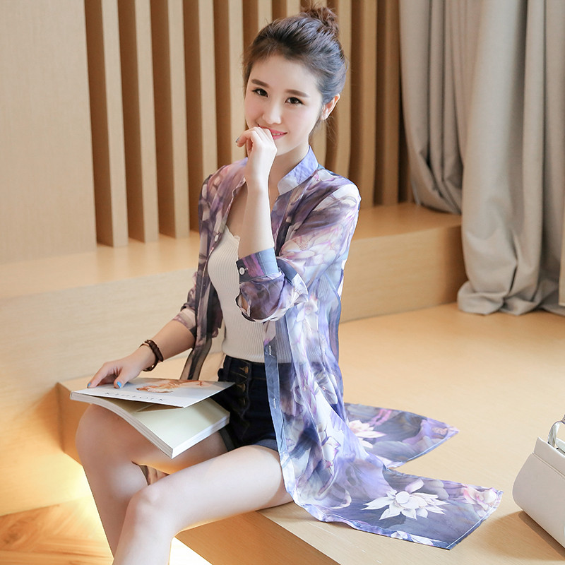 Summer in the long section sun protection clother women long sleeve cardigan loose Shirt blouse shawl print chiffon shirt women