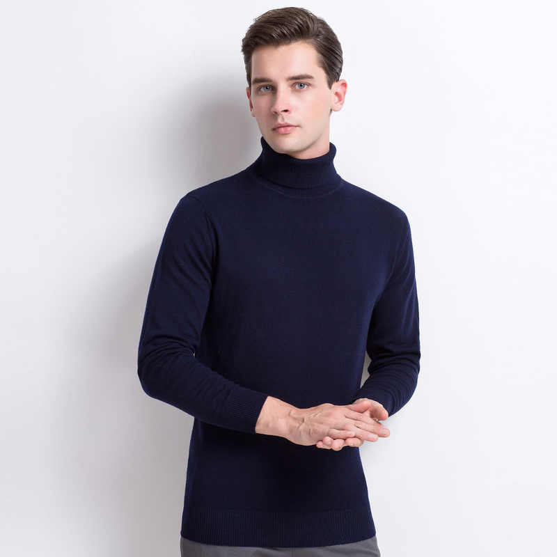 Новинка осень зима кашемир Мужская водолазка Мужской Пуловер длинный рукав теплый мужской свитер шерсть трикотажные свитеры для мужчин