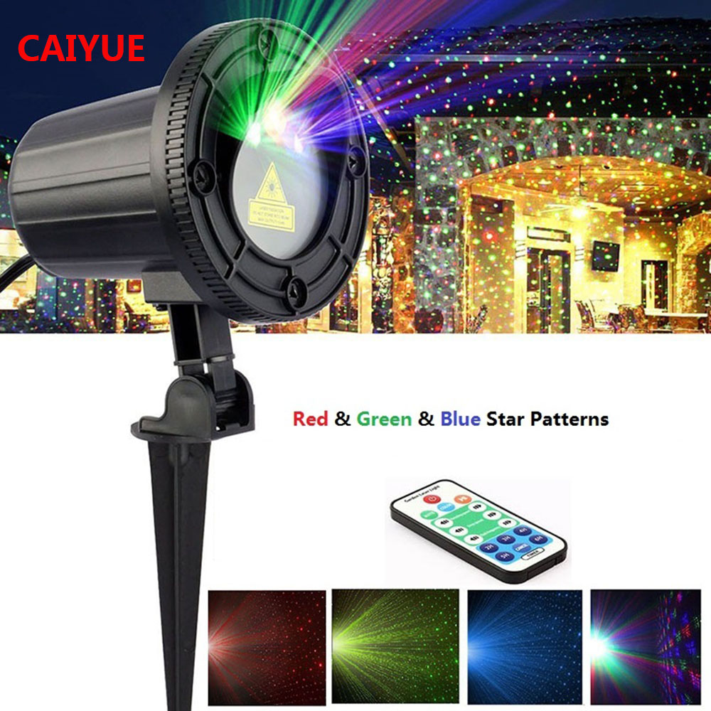Christmas Garden Laser Light Moving RGB Star Projector Waterproof IP65 with RF Remote Control for Holiday Party Wedding DJ Disco beiaid ip65 outdoor laser landscape light projection moving star christmas laser projector garden party disco dj led stage light